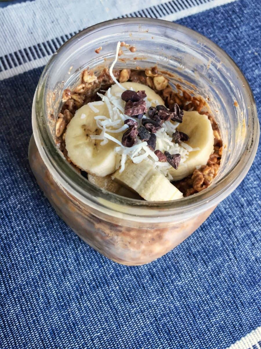 peanut butter cup overnight oats with no added sweetener